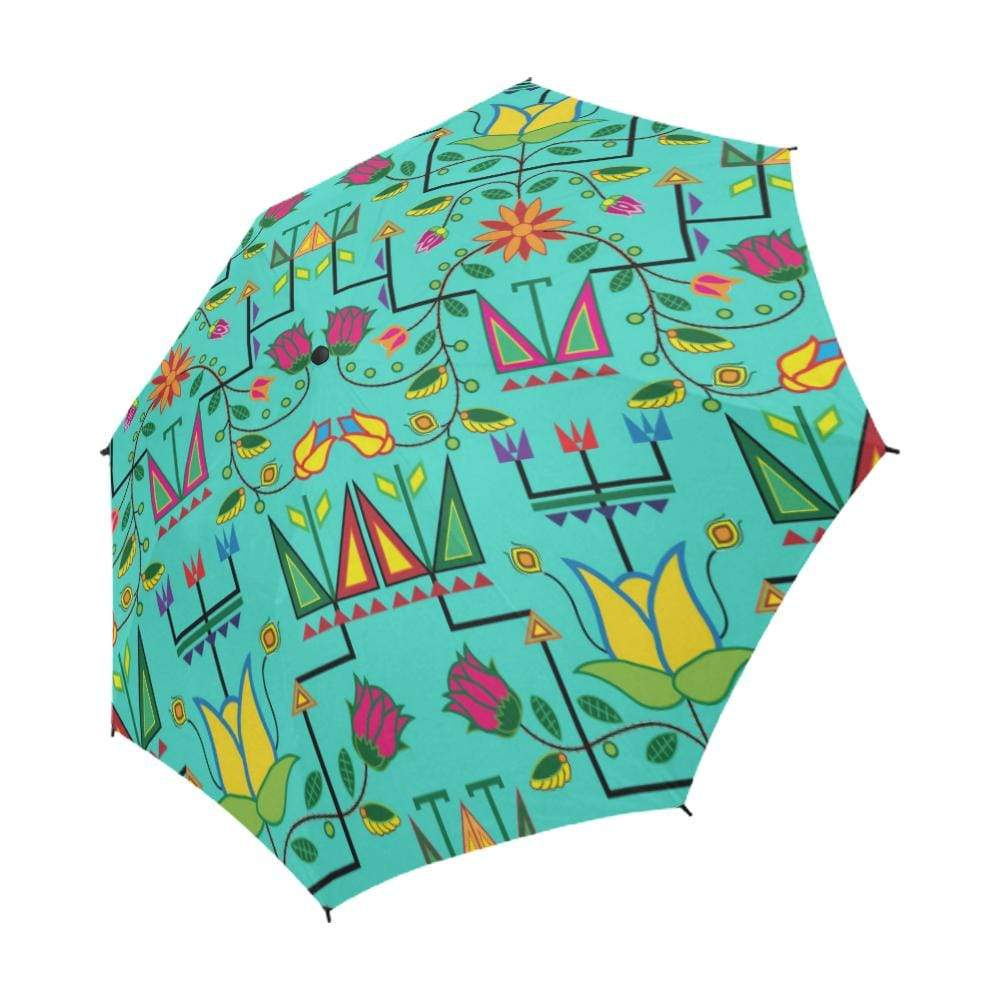 Geometric Floral Summer-Sky Semi-Automatic Foldable Umbrella Semi-Automatic Foldable Umbrella e-joyer