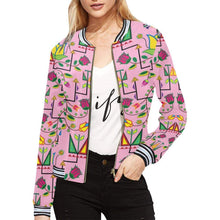 Geometric Floral Summer - Sunset All Over Print Bomber Jacket for Women (Model H21) All Over Print Bomber Jacket for Women (H21) e-joyer