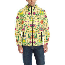 Geometric Floral Summer - Vanilla Unisex Quilted Coat All Over Print Quilted Windbreaker for Men (H35) e-joyer