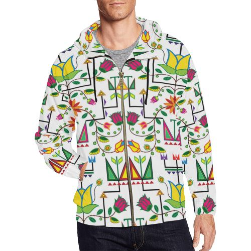 Geometric Floral Summer-White All Over Print Full Zip Hoodie for Men/Large Size (Model H14) All Over Print Full Zip Hoodie for Men/Large (H14) e-joyer