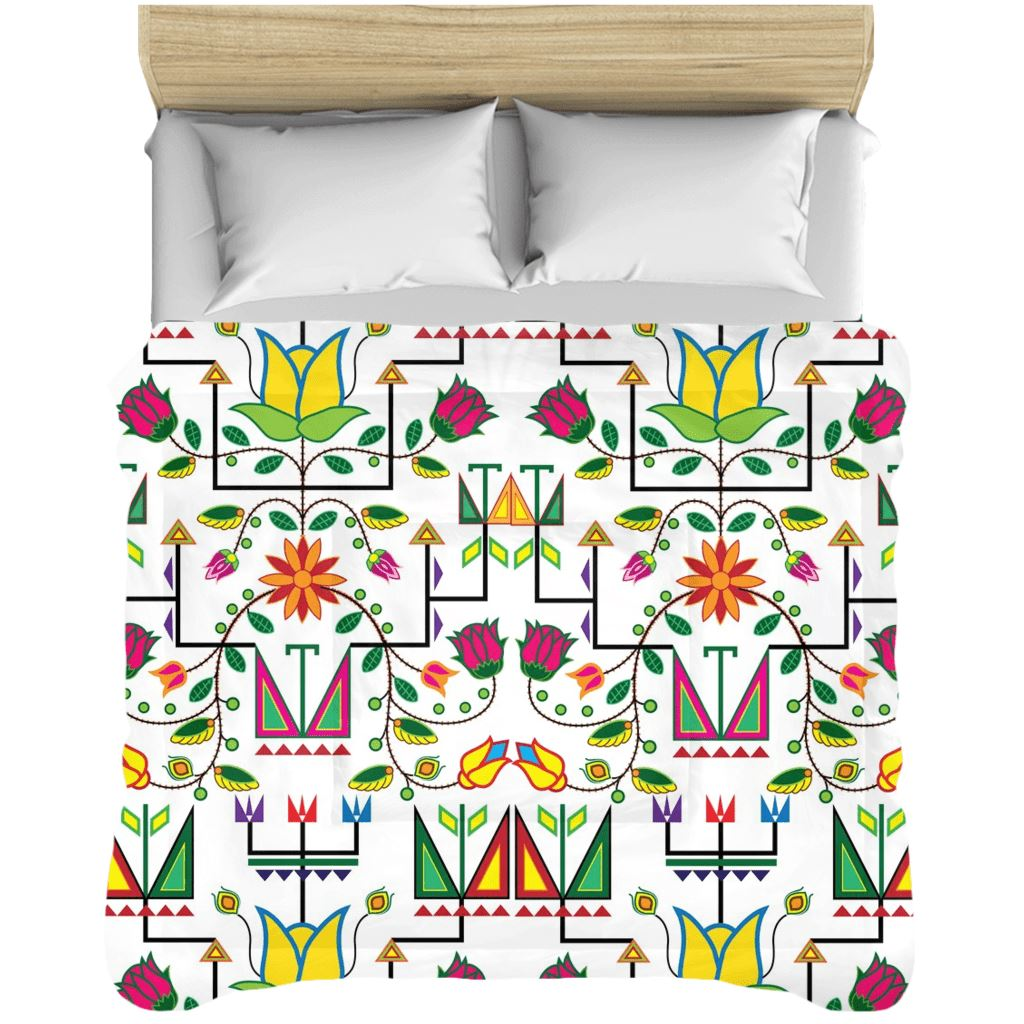 Geometric Floral Summer - White Comforters 49 Dzine 88x104 inch - King Size