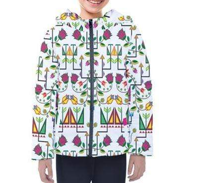 Geometric Floral Summer White Design Insulated Winter Coat for Kids 49 Dzine