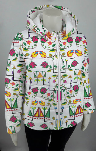 Geometric Floral Summer White Design Insulated Winter Coat for Women 49 Dzine