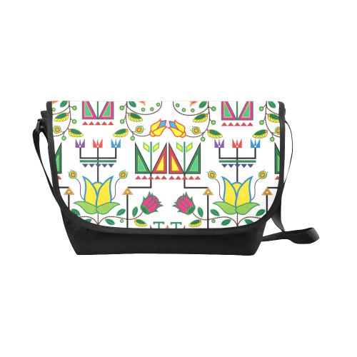 Geometric Floral Summer-White New Messenger Bag (Model 1667) New Messenger Bags (1667) e-joyer