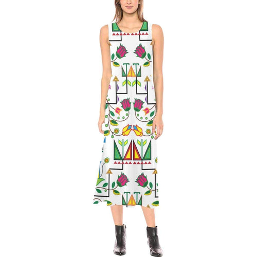 Geometric Floral Summer - White Phaedra Sleeveless Open Fork Long Dress (Model D08) Phaedra Sleeveless Open Fork Long Dress (D08) e-joyer