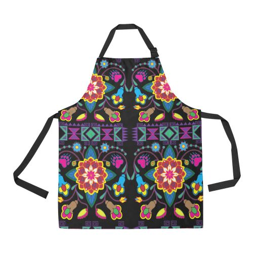 Geometric Floral Winter-Black All Over Print Apron All Over Print Apron e-joyer