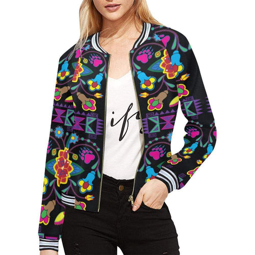 Geometric Floral Winter - Black All Over Print Bomber Jacket for Women (Model H21) All Over Print Bomber Jacket for Women (H21) e-joyer