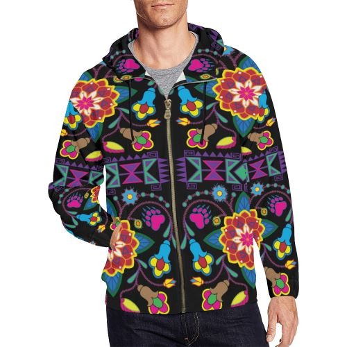 Geometric Floral Winter-Black All Over Print Full Zip Hoodie for Men/Large Size (Model H14) All Over Print Full Zip Hoodie for Men/Large (H14) e-joyer