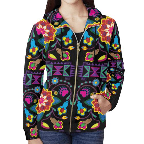 Geometric Floral Winter-Black All Over Print Full Zip Hoodie for Women (Model H14) All Over Print Full Zip Hoodie for Women (H14) e-joyer