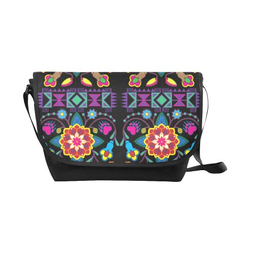 Geometric Floral Winter-Black New Messenger Bag (Model 1667) New Messenger Bags (1667) e-joyer