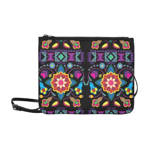 Geometric Floral Winter-Black Slim Clutch Bag (Model 1668) Slim Clutch Bags (1668) e-joyer