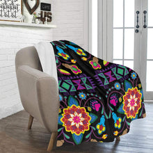 "Geometric Floral Winter - Black Ultra-Soft Micro Fleece Blanket 50""x60"" Ultra-Soft Blanket 50''x60'' e-joyer"