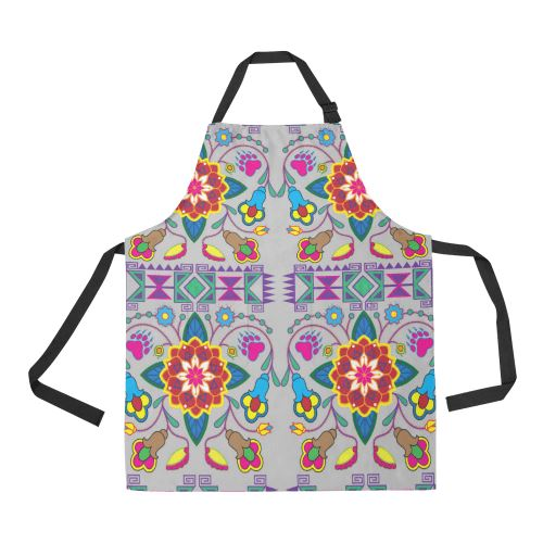 Geometric Floral Winter-Gray All Over Print Apron All Over Print Apron e-joyer