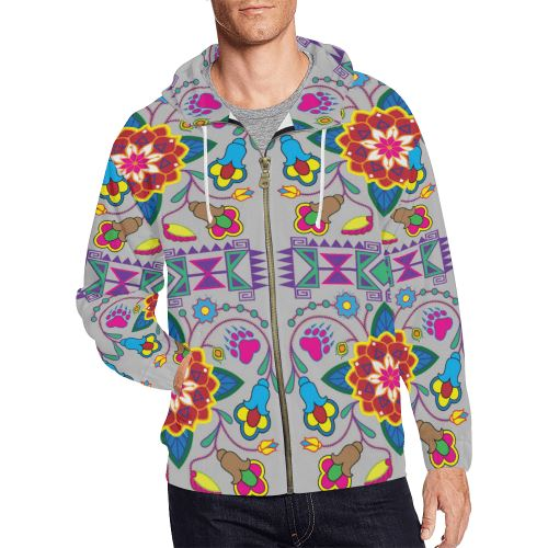 Geometric Floral Winter-Gray All Over Print Full Zip Hoodie for Men/Large Size (Model H14) All Over Print Full Zip Hoodie for Men/Large (H14) e-joyer