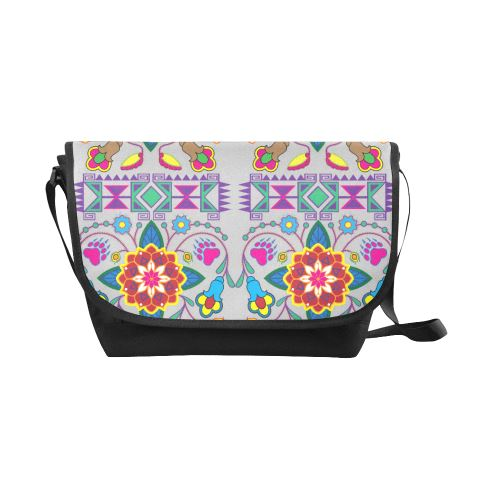 Geometric Floral Winter-Gray New Messenger Bag (Model 1667) New Messenger Bags (1667) e-joyer