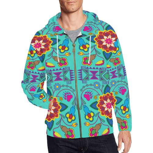 Geometric Floral Winter-Sky All Over Print Full Zip Hoodie for Men/Large Size (Model H14) All Over Print Full Zip Hoodie for Men/Large (H14) e-joyer