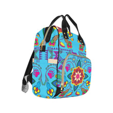 Geometric Floral Winter-Sky Blue Multi-Function Diaper Backpack (Model 1688) Diaper Backpack (1688) e-joyer