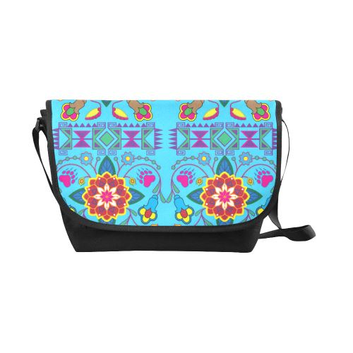Geometric Floral Winter-Sky Blue New Messenger Bag (Model 1667) New Messenger Bags (1667) e-joyer