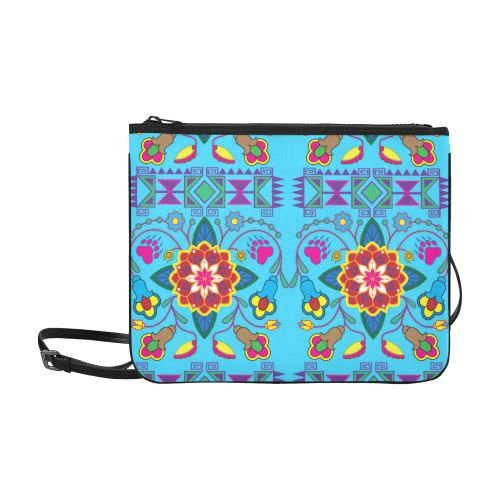Geometric Floral Winter-Sky Blue Slim Clutch Bag (Model 1668) Slim Clutch Bags (1668) e-joyer