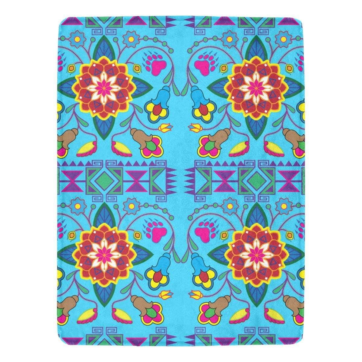 Geometric Floral Winter - Sky Blue Ultra-Soft Micro Fleece Blanket 60