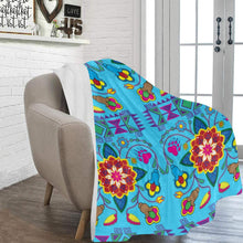 "Geometric Floral Winter - Sky Blue Ultra-Soft Micro Fleece Blanket 60""x80"" Ultra-Soft Blanket 60''x80'' e-joyer"