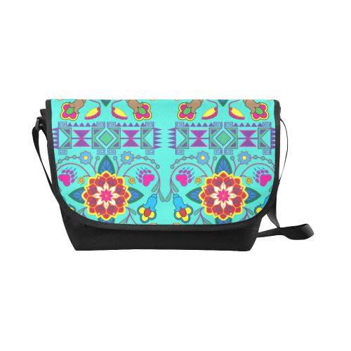 Geometric Floral Winter-Sky New Messenger Bag (Model 1667) New Messenger Bags (1667) e-joyer