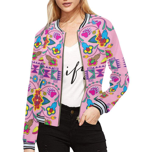 Geometric Floral Winter - Sunset All Over Print Bomber Jacket for Women (Model H21) All Over Print Bomber Jacket for Women (H21) e-joyer