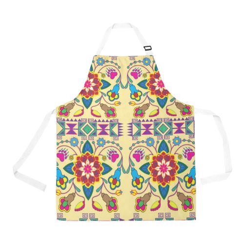 Geometric Floral Winter-Vanilla All Over Print Apron All Over Print Apron e-joyer