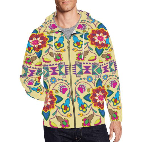 Geometric Floral Winter-Vanilla All Over Print Full Zip Hoodie for Men/Large Size (Model H14) All Over Print Full Zip Hoodie for Men/Large (H14) e-joyer