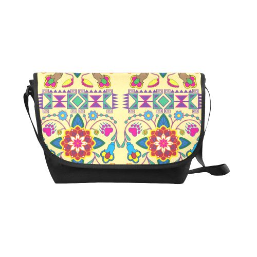 Geometric Floral Winter-Vanilla New Messenger Bag (Model 1667) New Messenger Bags (1667) e-joyer