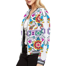 Geometric Floral Winter - White All Over Print Bomber Jacket for Women (Model H21) All Over Print Bomber Jacket for Women (H21) e-joyer