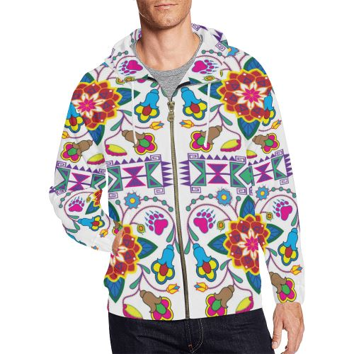 Geometric Floral Winter-White All Over Print Full Zip Hoodie for Men/Large Size (Model H14) All Over Print Full Zip Hoodie for Men/Large (H14) e-joyer