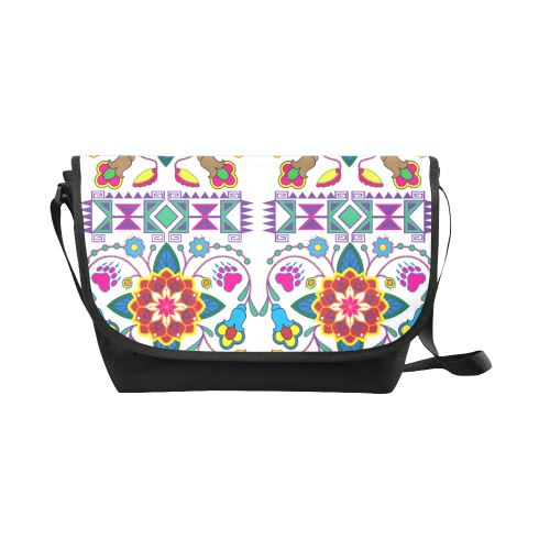 Geometric Floral Winter-White New Messenger Bag (Model 1667) New Messenger Bags (1667) e-joyer