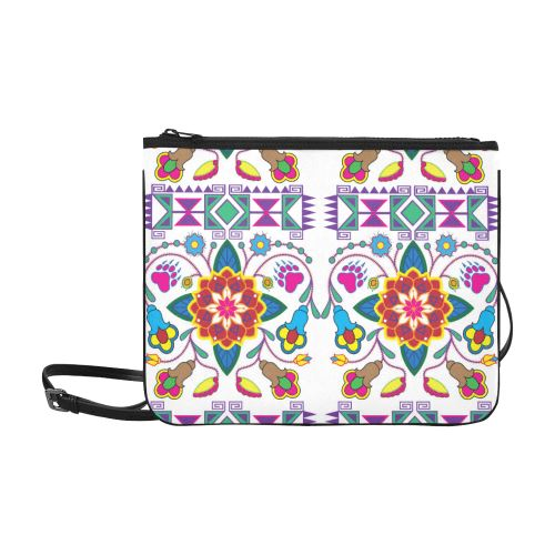 Geometric Floral Winter-White Slim Clutch Bag (Model 1668) Slim Clutch Bags (1668) e-joyer