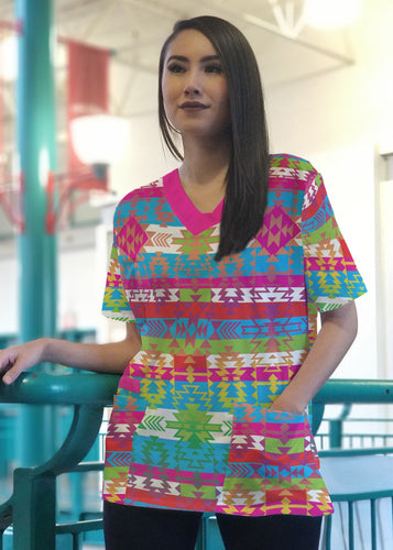 Grand Entry Women's V-Neck Scrub Top 49 Dzine