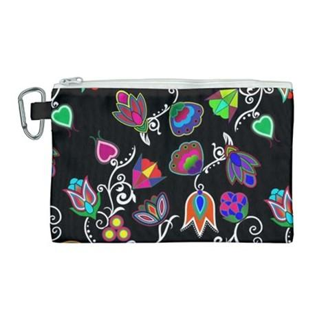 Indigenous Paisley Black Canvas Cosmetic Bag (Large) cosmetic-bags 49 Dzine