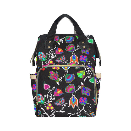 Indigenous Paisley - Black Multi-Function Diaper Backpack (Model 1688) Diaper Backpack (1688) e-joyer