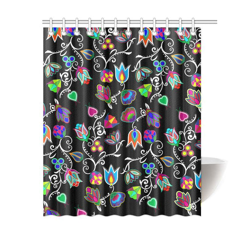 Indigenous Paisley - Black Shower Curtain 60
