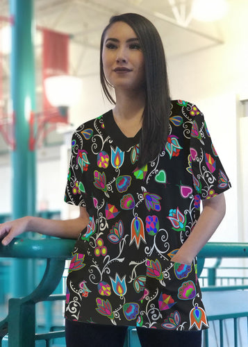 Indigenous Paisley Black Women's V-Neck Scrub Top 49 Dzine