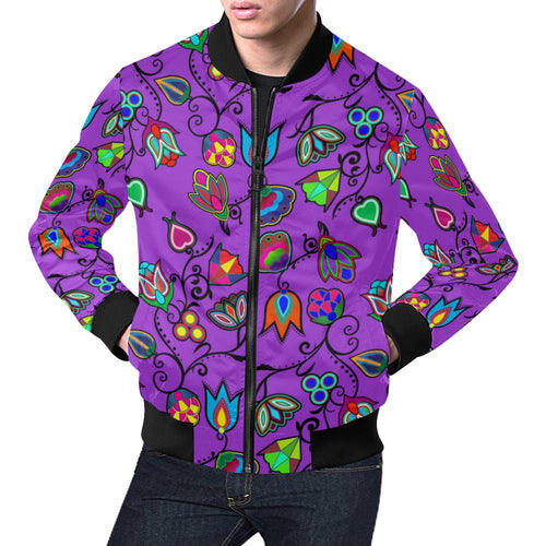 Indigenous Paisley - Dark Orchid All Over Print Bomber Jacket for Men/Large Size (Model H19) All Over Print Bomber Jacket for Men/Large (H19) e-joyer