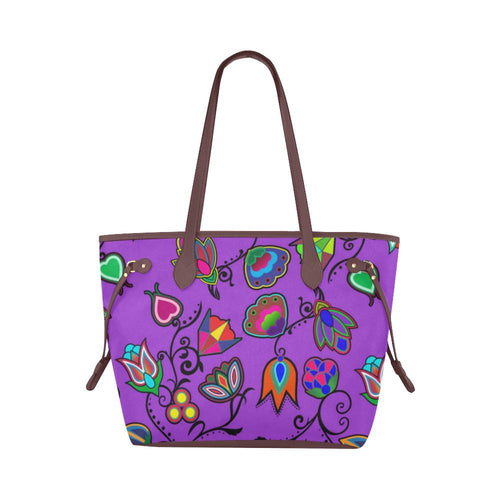 Indigenous Paisley - Dark Orchid Clover Canvas Tote Bag (Model 1661) Clover Canvas Tote Bag (1661) e-joyer