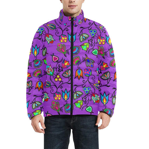 Indigenous Paisley - Dark Orchid Men's Stand Collar Padded Jacket (Model H41) Men's Stand Collar Padded Jacket (H41) e-joyer