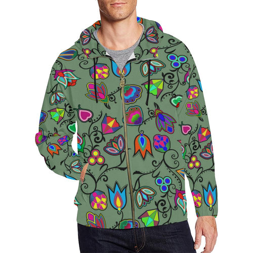 Indigenous Paisley - Dark Sea All Over Print Full Zip Hoodie for Men (Model H14) All Over Print Full Zip Hoodie for Men (H14) e-joyer