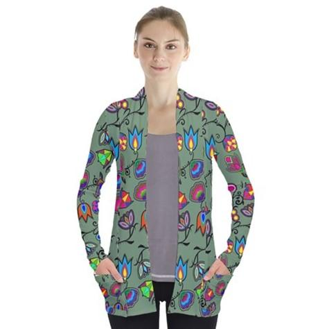 Indigenous Paisley Dark Sea Open Front Pocket Cardigan 49 Dzine