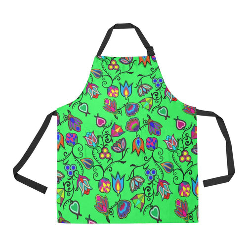 Indigenous Paisley Green All Over Print Apron All Over Print Apron e-joyer