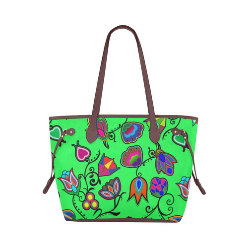 Indigenous Paisley - Green Clover Canvas Tote Bag (Model 1661) Clover Canvas Tote Bag (1661) e-joyer