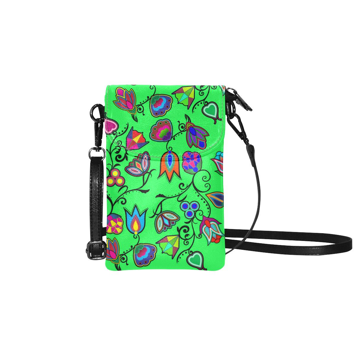Indigenous Paisley - Green Small Cell Phone Purse (Model 1711) Small Cell Phone Purse (1711) e-joyer
