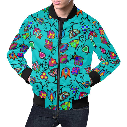 Indigenous Paisley - Sky All Over Print Bomber Jacket for Men/Large Size (Model H19) All Over Print Bomber Jacket for Men/Large (H19) e-joyer