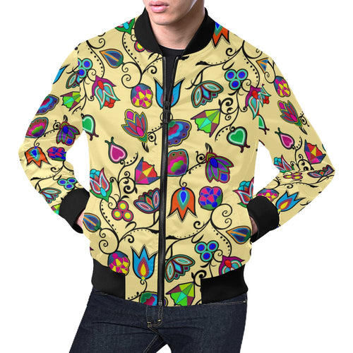 Indigenous Paisley - Vanilla All Over Print Bomber Jacket for Men/Large Size (Model H19) All Over Print Bomber Jacket for Men/Large (H19) e-joyer