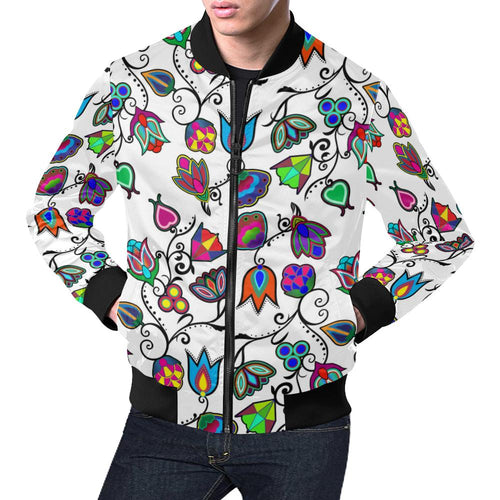 Indigenous Paisley - White All Over Print Bomber Jacket for Men/Large Size (Model H19) All Over Print Bomber Jacket for Men/Large (H19) e-joyer